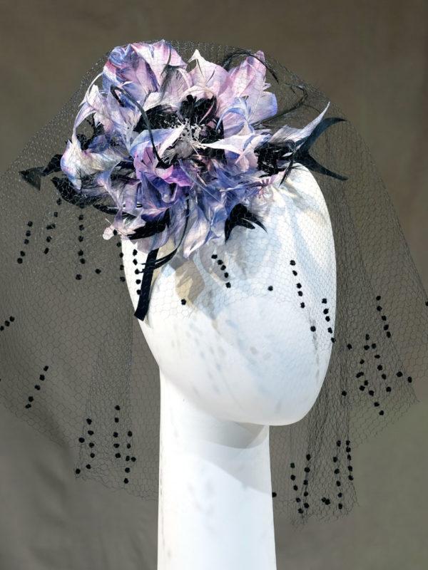 Bijoux de tête hortensia et voilette de soie